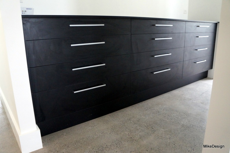 Sets of drawer cabinet in wardrobe black melamine