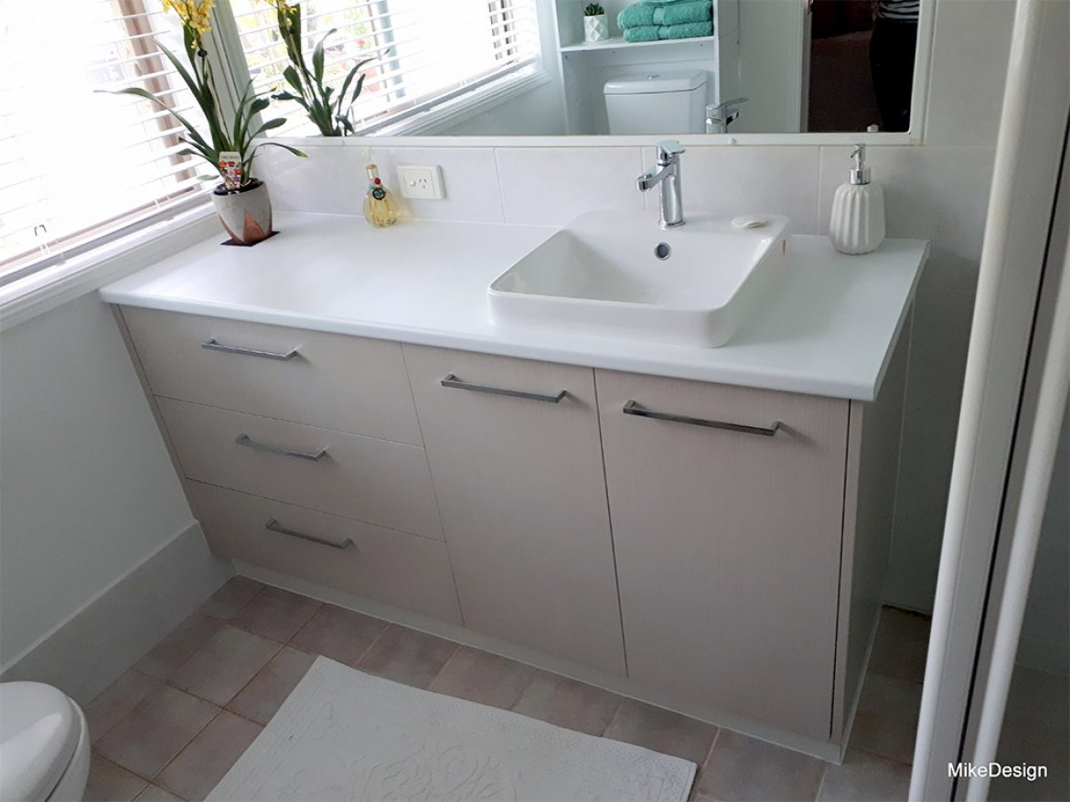Picture of: Bathroom Vanity With Timber Grain Melamine Doors And Laminated Benchtop Mike Design