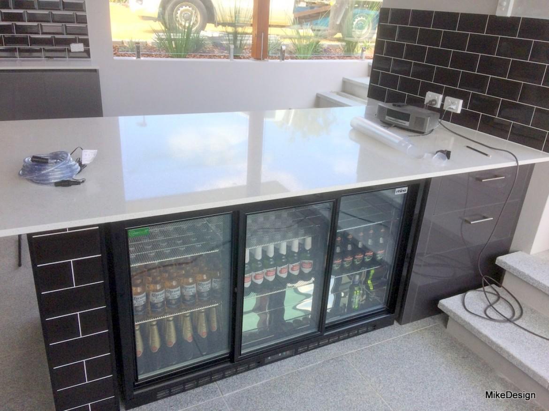Outdoor bbq kitchen island benchtop with inbuilt double fridge