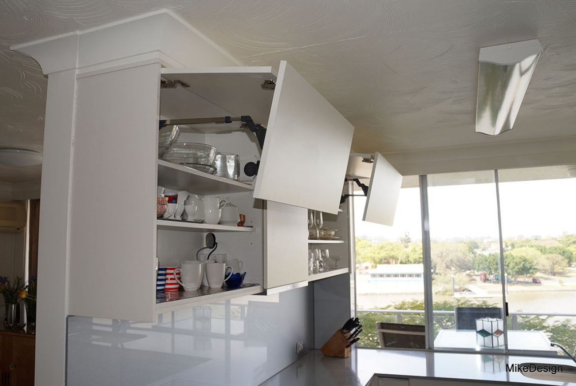 Image of: Overhead Cabinets With Bi Fold Lift Up Doors Mike Design